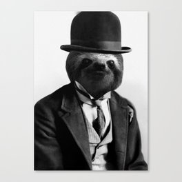 Sloth with Bowl Hat Canvas Print