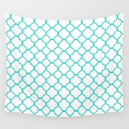 Aqua Blue Quatrefoil Clover Pattern Wall Tapestry