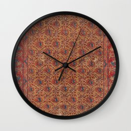 Mustard Floral Vine I // 17th Century Distressed Red Yellow Blue Colorful Ornate Accent Rug Pattern Wall Clock