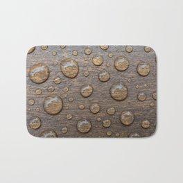 Water Drops on Wood 5 Bath Mat
