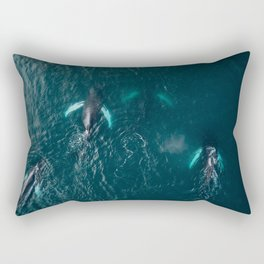 School of humpback whales playing with a boat Rectangular Pillow