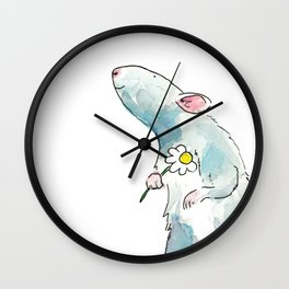 Woodland mouse with a flower Wall Clock