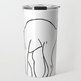 Sphynx Cat Arching Its Back - Naked Cat -  Simple Line - Minimal Travel Mug