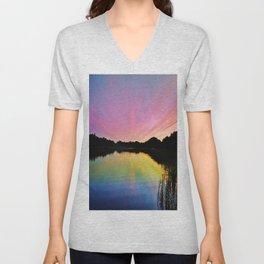 Pastel Rainbow Sunset Lake Unisex V-Neck