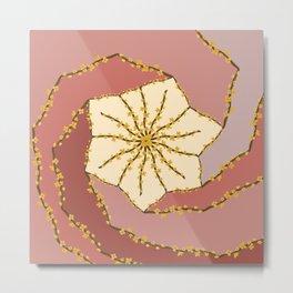 Star Flower Branch Patchwork  Swirl  Metal Print