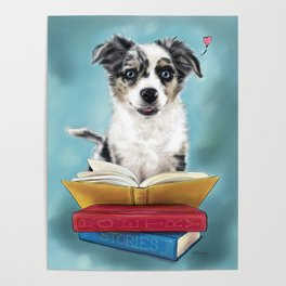 Puppy Book Lover Poster