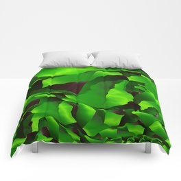 Green frayed abstraction Comforters