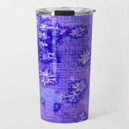 Purple and Blue Abstract Snowflakes Travel Mug