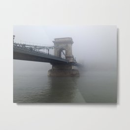 The Misty Chain Bridge In Budapest Metal Print