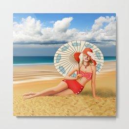 Marilyn on the beach Metal Print