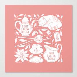 Tea, Knitting, Cats, and Botanicals // Hand Drawn Folk Art Cats, Tea, Yarn, and Lotus Canvas Print