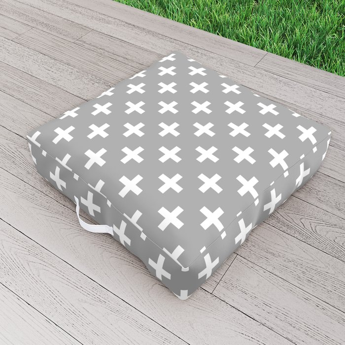Crosses | Criss Cross | Plus Sign | Hygge | Scandi | Grey and White | Outdoor Floor Cushion