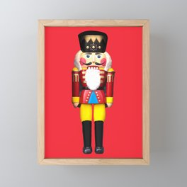 Nutcracker Merry Christmas Design - red Framed Mini Art Print