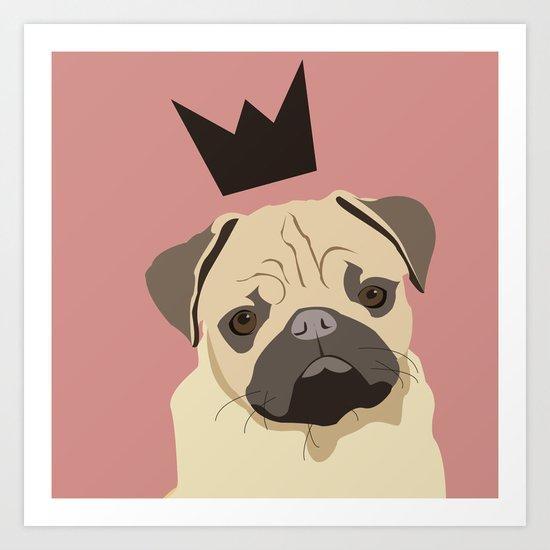 Royal pug Art Print
