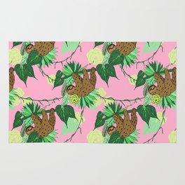 Sloth - Green on Pink Rug