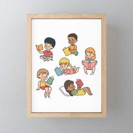 Kids Reading Books Framed Mini Art Print
