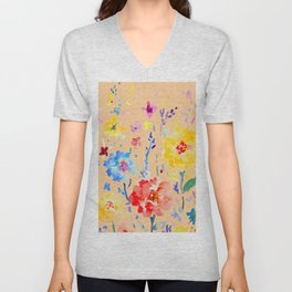 Watercolor Decorative Poppy Orange Background Unisex V-Neck
