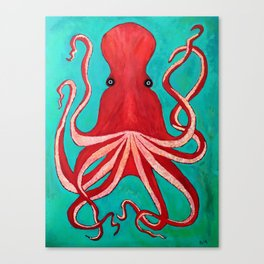A big red octopus; sea creatures Canvas Print