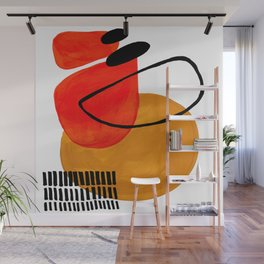 Mid Century Modern Abstract Vintage Pop Art Space Age Pattern Orange Yellow Black Orbit Accent Wall Mural
