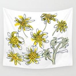 Manx Flora #3 - Scruffy Yellow Wall Tapestry