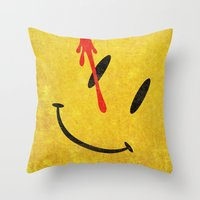 watchmen Throw Pillows featuring The Watchmen (Super Minimalist series) by Itomi Bhaa