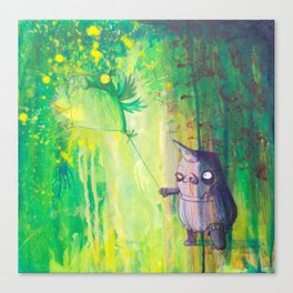 the shmorbled panda with an owl at the leash Canvas Print