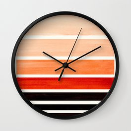 Brown Minimalist Watercolor Mid Century Staggered Stripes Rothko Color Block Geometric Art Wall Clock