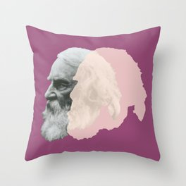 Henry Wadsworth Longfellow - portrait purple and white Throw Pillow