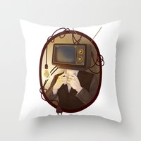 tv Throw Pillows featuring TELEVISION by FISHNONES