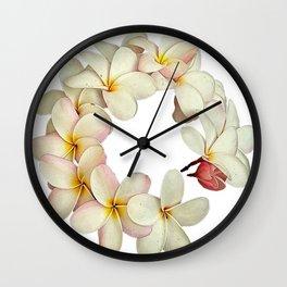 Plumeria Tropical Flower Garland Wall Clock