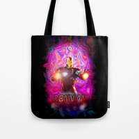 ironman Tote Bags featuring Ironman by JT Digital Art