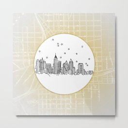 Atlanta, Georgia City Skyline Illustration Drawing Metal Print