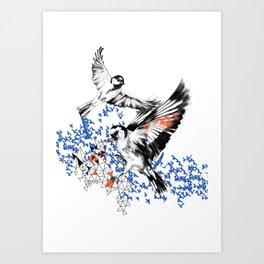 One Fell Swoop, Blue & Orange Art Print