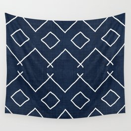 Bath in Navy Wall Tapestry