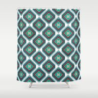 kilim Shower Curtains featuring Pistachio Persian Kilim by Katayoon Photography