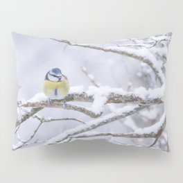 Blue Tit On A Snowy Branch Winter Scene #decor #society6 Pillow Sham