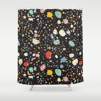 toddler Shower Curtains featuring   Modern Scandinavian Multi Colour Color Pebbles Black by Season of Victory