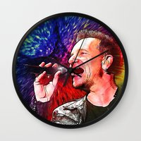 u2 Wall Clocks featuring U2 / Bono 3 by JR van Kampen