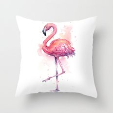 Pink Flamingo Watercolor Tropical Bird Throw Pillow