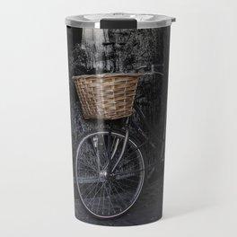 Bicycle Against Splattered Wall Travel Mug