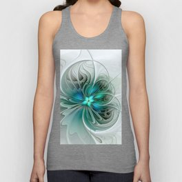 Abstract With Blue, Fractal Art Unisex Tank Top