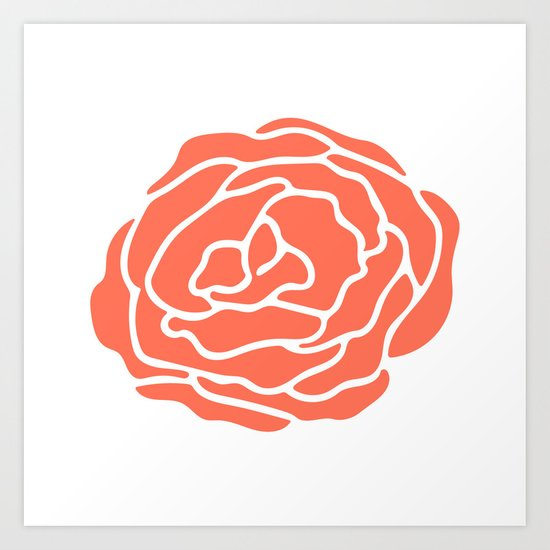 Rose Deep Coral on White Art Print