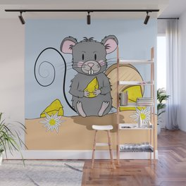 Cartoon Mouse with Cheese Wall Mural
