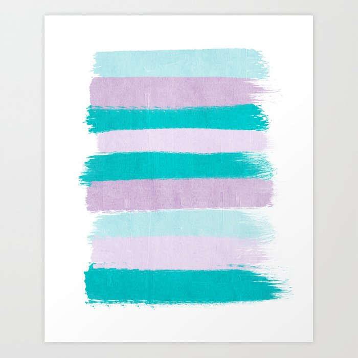 Painted stripes minimal brushstrokes nursery home decor modern canvas art Art Print