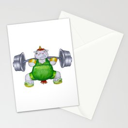 Unicorn Weight Lifter Stationery Cards
