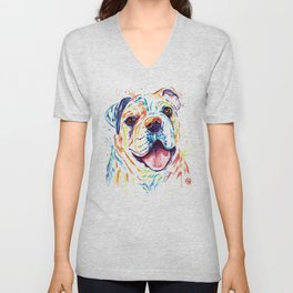 Bulldog Colorful Watercoor Pet Portrait Painting - Shelby Rue Unisex V-Neck