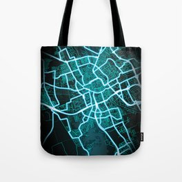Groningen, Netherlands, Blue, White, Neon, Glow, City, Map Tote Bag