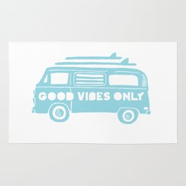 Good Vibes Only retro surfing Camper Van Rug
