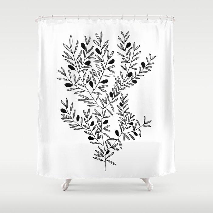 Olive Branch Print by Emma Freeman Designs Shower Curtain