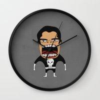 punisher Wall Clocks featuring Screaming Punisher by That Design Bastard